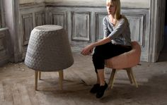 BOUNCE is a foam sculpture, which transforms into a soft and comfortable chair at the moment when someone sits down. #chair #stool #livingroom #modern #wood #grey #pink