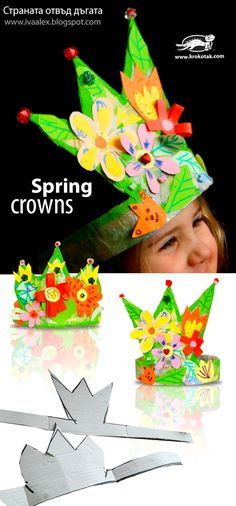 Beautiful Spring crowns. A fun craft for children!