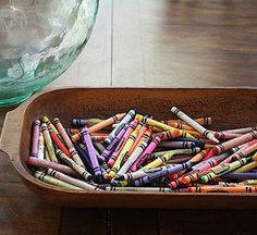 Mom Bloggers' Best Organizing Tips: Show Off Everyday Objects- find ways to display everyday objects in pretty containers. Woven baskets, galvanized buckets, and glass apothecary jars are all great storage options. We use a dough bowl as a stylish and easy-to-reach crayon holder on our kitchen table.
