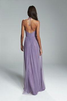 ASTRID. Deep V neckline cumberbund waist bridesmaids dress shown in Violet. Available in 27 colors.