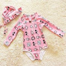 Dollplus Swimwear For Girls Summer Long Sleeve Printing Swimsuit Girls 2pcs Baby  Girls Cartoon Beach Wear toddler girl swimwear 75377fe41f55
