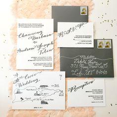 Letterpress Wedding Invitation Suite   Custom Caligraphy Wedding Invites; Invitation Suite; Letterpress Invitations; Hand-drawn Map by PrettyMuchDesign on Etsy https://www.etsy.com/listing/177327935/letterpress-wedding-invitation-suite