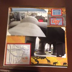 Lucy the Elephant, Margate NJ, top of head and under legs; Page 7: This a 8 by 8 scrapbook page featuring elephant/safari themed paper and cut-outs from brochures.