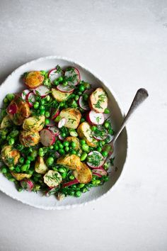 Roasted Potatoes, Asparagus, Peas, Edamame and Radish in a sharp Mint and Dill Dressing. Gluten Free and ready in under 30 minutes.