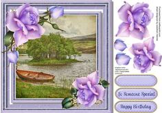 A beautiful card to make and give to anyone Beautiful lilac roses and lake scene a lovely card  has two greeting tags and a blank one for you to choose the sentiment,