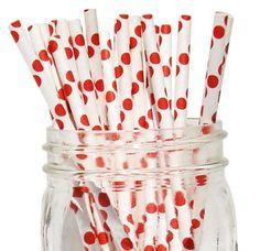 Red Polka Dot Paper Straws [25ct]
