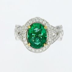 Stunning Ring!!!  Emerald Diamond Engagement Rings Designer by DiamondsCollection #SolitairewithAccents