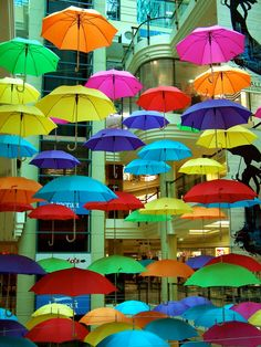 Brilliant display of brollies in a Melbourne Shopping centre Umbrella Art, Under My Umbrella, Taste The Rainbow, Over The Rainbow, Melbourne Shopping, Color Of Life, My Favorite Color, Rainbow Colors, Color Splash