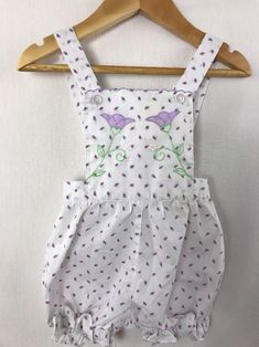 e57a33863ed7 Vintage Purple Embroidered Flowers Baby Girl Sunsuit Romper 12 months