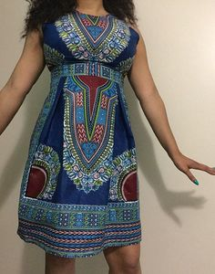 Dashiki Dress: Blue African Print Dashiki Dress by AdornedbyNicole