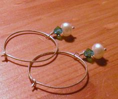 Simply Suspended Teal Crystal and Pearl, Sterling Silver Wirewrapped Earrings by TriannasTreasures