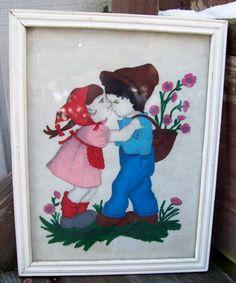 Vintage Wood Framed Hummel Like Children Felt Drawing/Painting. $15.00, via Etsy.