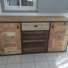 Meuble bahut design industriel acier/bois de palettes