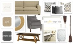 The Yellow Cape Cod: Lake Front Living Room Neutral Color Living Room. Living Room Color Schemes, Living Room Colors, Living Room Sofa, Home Living Room, Interior Design Mood Board Examples, Grey Couch Decor, New England Decor, Grey And Yellow Living Room, Living Room Inspiration