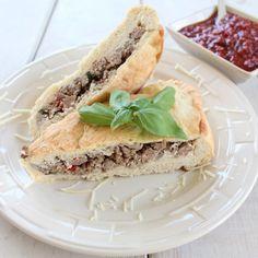 Two Meat, Three Cheese Loaded Calzone Recipe #recipe #Italian #calzone