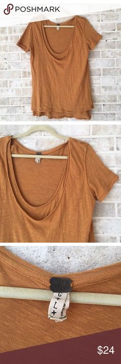 We The Free People Top Size L Large Draped Shirt • Brand: We the Free  • Size: Large  • Material: See picture of tag in photos  • Previously owned, excellent used condition  • Length 29 Bust 23 Free People Tops Tees - Short Sleeve