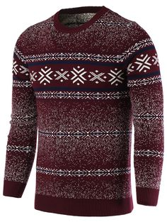 Cardigans & Sweaters | Wine red Snowflake Pattern Round Neck Long Sleeve Sweater For Men - Gamiss