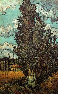 "https://www.facebook.com/VincentvanGogh.MiaFeigelson.Gallery ""Cypresses and two women"" (February 1890) [F621] By Vincent van Gogh, from Zundert, the Netherlans (1853 - 1890) oil on canvas; 44 x 27 cm - [Post-Impressionism] Place of creation: Saint-Rémy-de Provence, France Van Gogh Museum, Amsterdam"