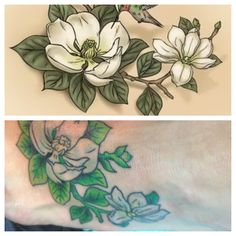 Magnolia branch tattoo. Left foot. Symbolizing my little family :)