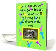 Driver's Test New Driver Congratulations Humor Card