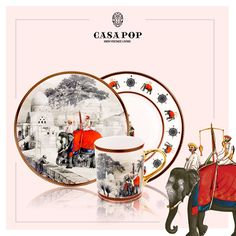 #CasaPop #CompanyRaj #Crockery #Collection The colonial rule reminiscent of the hectic milieu of monochrome dunes. A burst of drama evolves in a desert scheme. And a ceremonial procession takes precedence in all splendor of its surreal magnificence. Now available at our boutique showrooms located at Santushti Shopping Complex and at Ambience Mall, Vasant Kunj in New Delhi.