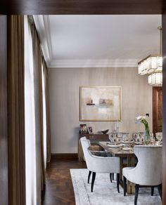Luxury interior design of apartment in Bayswater, London. It features custom made joinery, Fendi furniture and Lorenzo Quinn Artwork. Luxury Dining Room, Dining Room Design, Dining Room Furniture, Dining Rooms, Dining Area, Dining Decor, Room Chairs, Interior Design Studio, Modern Interior Design