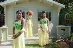 TRIBAL Gem zesty green african print ankara and pastel yellow chiffon maxi skirted bridesmaid dresses.  www.tribalgem.co.uk