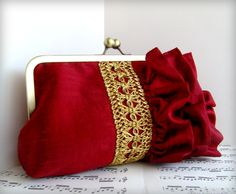 Red fashion. Wine red silk clutch purse, ruffled clutch with gold trim, discounted.. $48.00, via Etsy.
