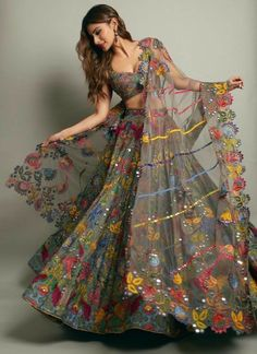 Simple Designer Grey color printed lehenga choli for bridal look.For order WhatsApp on draping styles dress for bride indian dresses indian teens wedding outfits sisters blouse designs indian with dress blouse designs dresses indian designs indian bridal Indian Gowns Dresses, Indian Fashion Dresses, Dress Indian Style, Indian Designer Outfits, Indian Blouse, Fashion Suits, African Fashion, Bridal Dresses, Designer Dresses