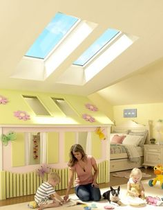 cool playhouse using some of the reduced head height space in an attic conversion bedroom for wee folk. Loft Playroom, Bedroom Loft, House With Annex, Attic Conversion Bedroom, Roof Window, Vintage Bathrooms, Play Spaces, Skylight, Play Houses