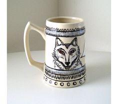 Ceramic Beer Stein Mug White Wolf DIrewolf Red eyes Black illustration Beige porcelain Stark Geekery Winter is Coming Jon Snow, $35.00