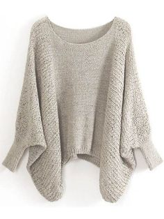 2014 New Spring/Winter Tops Fashion Knitted Knitwear Plus Size Women Clothes Casual Khaki Batwing Sleeve Loose Pullover Sweater(China (Mainland)) Manga Del Batwing, Batwing Sleeve, Batwing Top, Bat Sleeve, Long Sleeve, Loose Sweater, Brown Sweater, Purple Sweater, Cropped Sweater