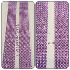 grande plaque de 1424 strass autocollant forme diamant couleur violet clair transparent 2 mm : Embellissements par elyse-passion-crea
