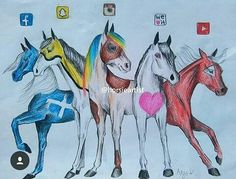 Facebook, Snapchat, Instagram, We Heart It & YouTube [as horses] (Drawing by Unknown) #SocialMedia