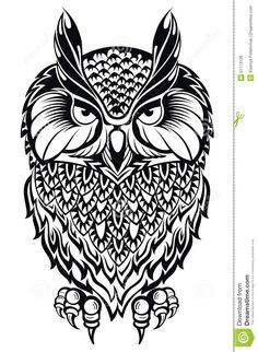 Illustration of Owl.Tattoo owl vector art, clipart and stock vectors. Owl Tattoo Design, Tattoo Designs, Tattoo Ideas, Bird Coloring Pages, Adult Coloring Pages, Tattoo Tribal, Tattoo Owl, Tribal Animals, Shapes Images