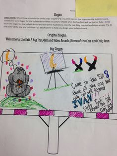 """Students redesign the billboard in The One and Only Ivan and create a new slogan that reflects a theme in the story. Could design a billboard with a """"theme"""" slogan for any novel study."""