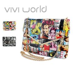 Fashion Magazine cover Art PU leather handbag cross body messenger bag envelope day clutches one shoulder bolsas with gold chain-in Messenge...