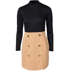 Ax Paris High Neck Button Skirt Dress ($26) ❤ liked on Polyvore featuring dresses, camel, party dresses, womens-fashion, long sleeve turtleneck top, camel turtleneck, long-sleeve turtleneck dresses, turtle neck dress and button dress