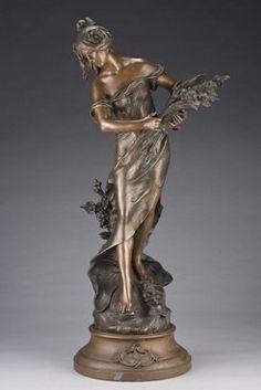 Moreau (Auguste), after, Young Woman Gathering Flowers, 39 inch. Bronze Sculpture, Metal Sculptures, Modern Sculpture, Abstract Sculpture, Wood Sculpture, Art Nouveau, Sculpture Techniques, Fairy Statues, Richard Serra