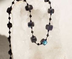 Spectrolite Cubes with Black Spinel Hand Knotted Silk by Noduri