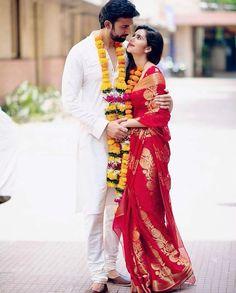 Indian Bride and Groom in red gold silk Kanjeevaram saree. Indian Wedding Couple Photography, Indian Wedding Photos, Bridal Photography, Girl Photography, Wedding Pictures, Wedding Poses, Wedding Ideas, Wedding Shoot, Wedding Planning