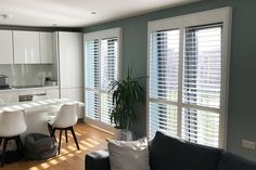 Full Height Shutters in the Kitchen and Dining Room