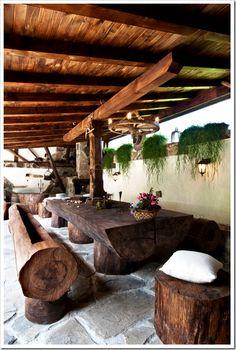 "Log seating area ("",)"