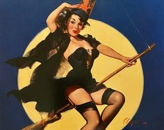 Sale Halloween WITCH  Large 12x16 RIDING HIGH by Elvgren UpSkirt Pin-Up Lingerie Nylons Stockings pinup Vintage, Swing Modern Midcentury