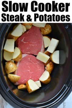 Slow cooker steak and potatoes is a great dinner idea that cooks all day by itself! Tender and delicious every time. Slow cooker meals are the way to go. #crockpotrecipes #crockpotsteak #slowcookerrecipes #steakandpotatoes #steak #crockpotrecipeseasy