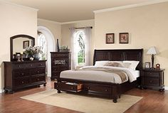 Roundhill Furniture Brishland Storage Bedroom Set Includes Queen Bed, Dresser, Mirror and 2 Nighstands, Rustic Cherry   Best Furniture Review