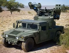 A military hummer with surface-to-air-missiles..