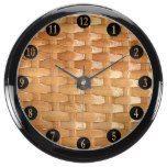 Lacquer Wicker Basketweave Texture Look Aqua Clock  #Aqua #Basketweave #Clock #Lacquer #Look #RusticClock #Texture #Wicker The Rustic Clock