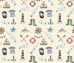 nauticaltextilecrm fabric by little_canoe on Spoonflower - custom fabric