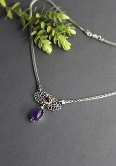 "Trachtenschmuck Trachtenkette ""Brigitte"" mit Amethyst. Jewelry, Lilac, Necklaces, Stones, Silver, Jewlery, Jewels, Jewerly, Jewelery"